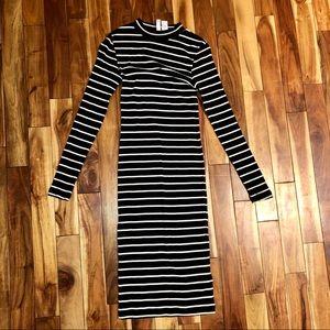 Black and white stripe midi dress
